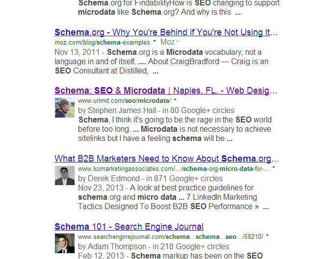 google authorship markup results