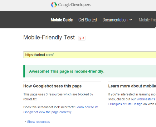 google mobile friendly check passed seo