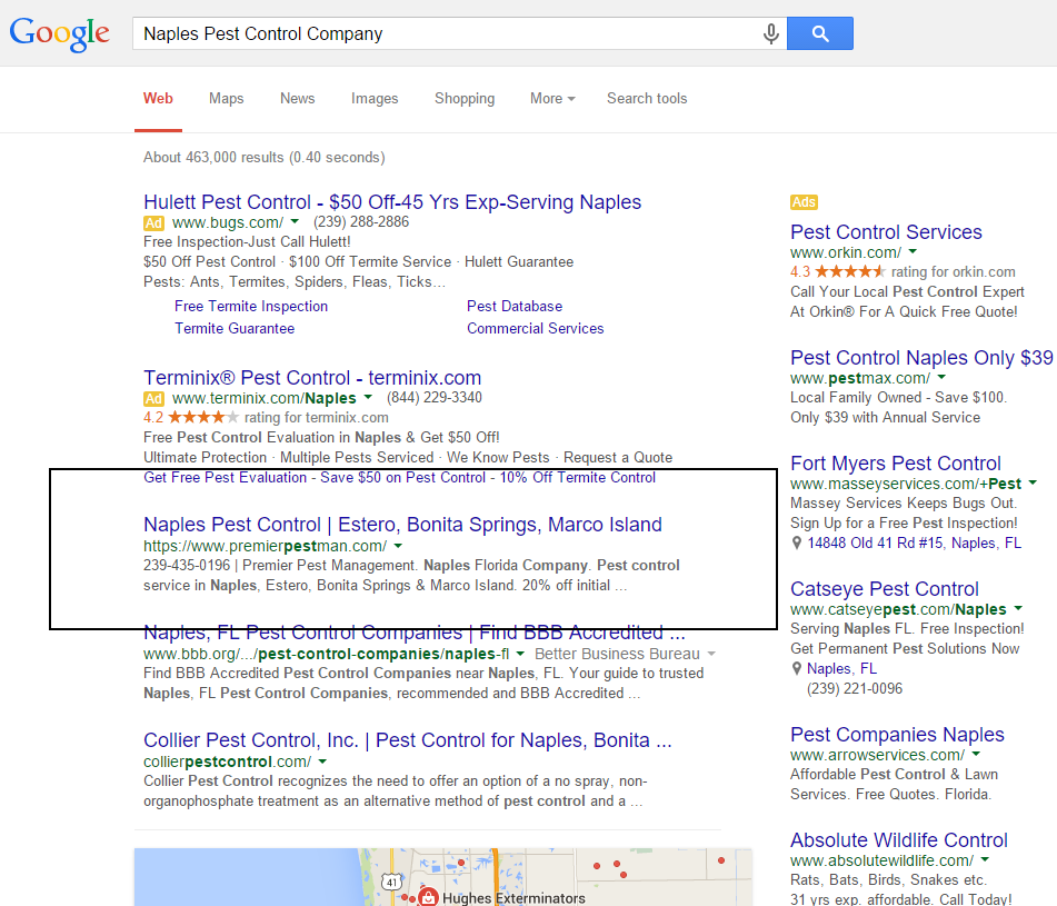 Naples FL. SEO Results
