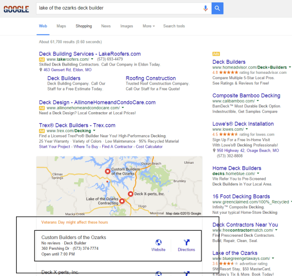SEO Services Results, Construction