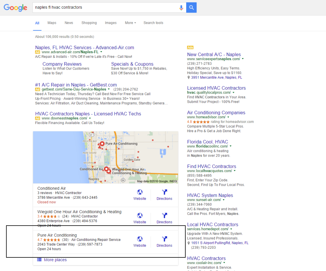 naples florida search engine optimization results 3 months