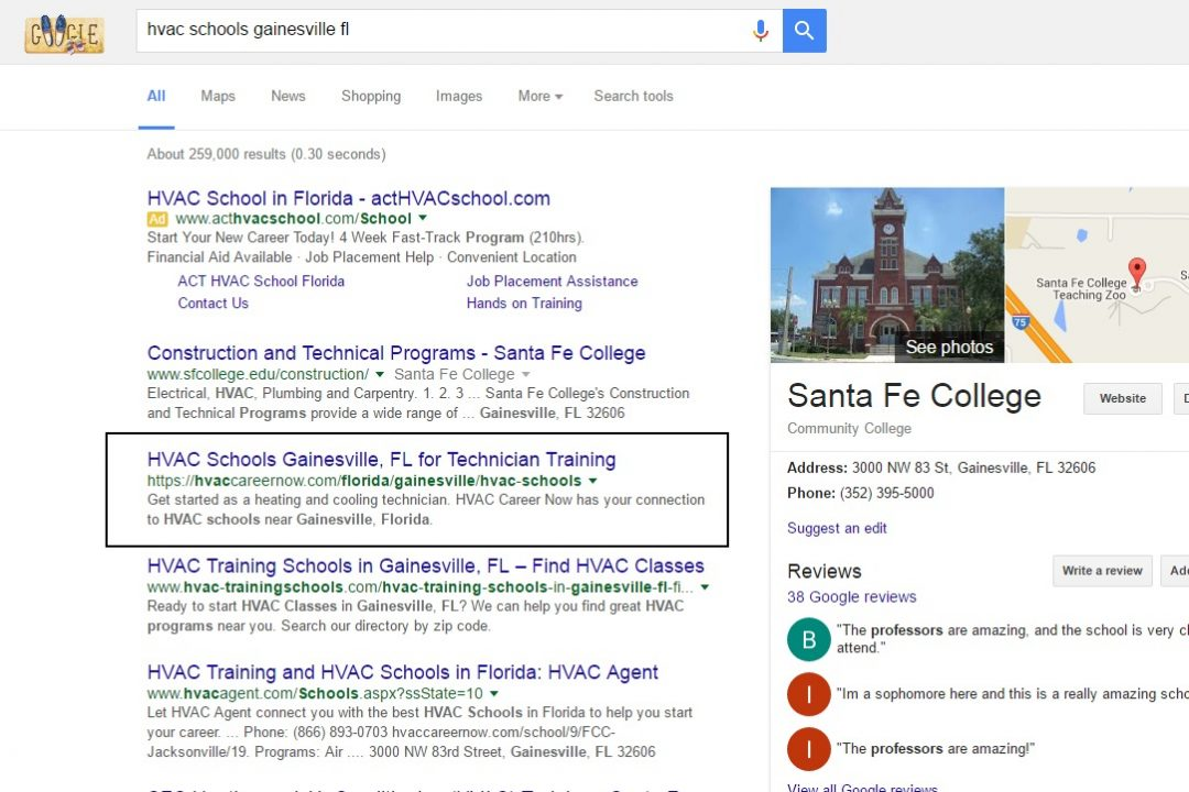 gainesville fl seo result