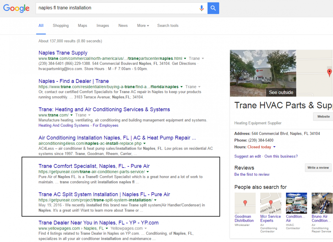 naples fl seo services result