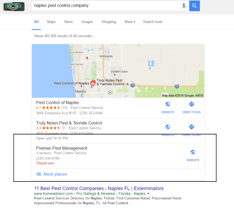 naples local seo results