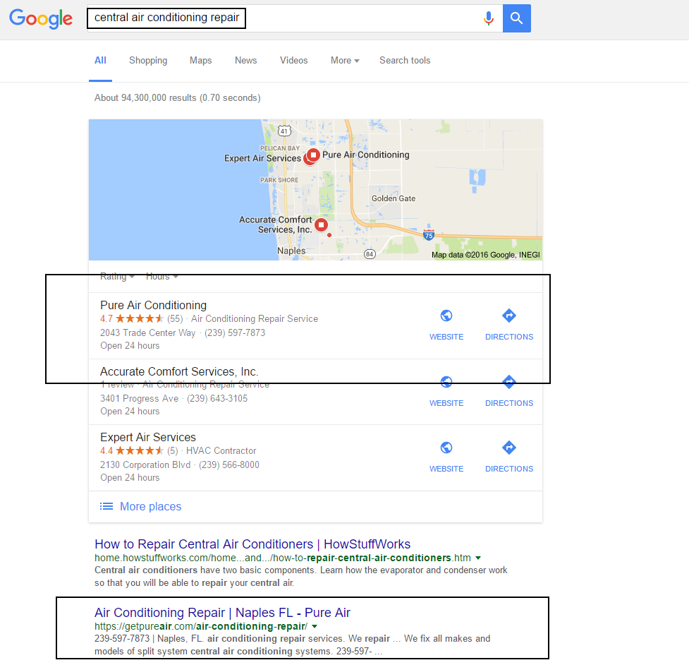 local seo organic and map pin results naples-fl