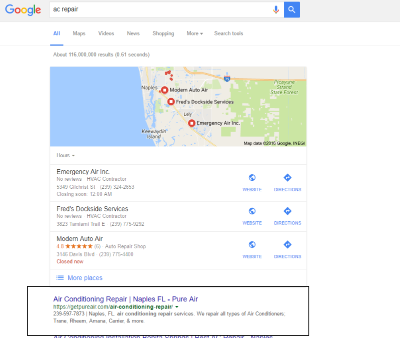 Local SEO Results Naples