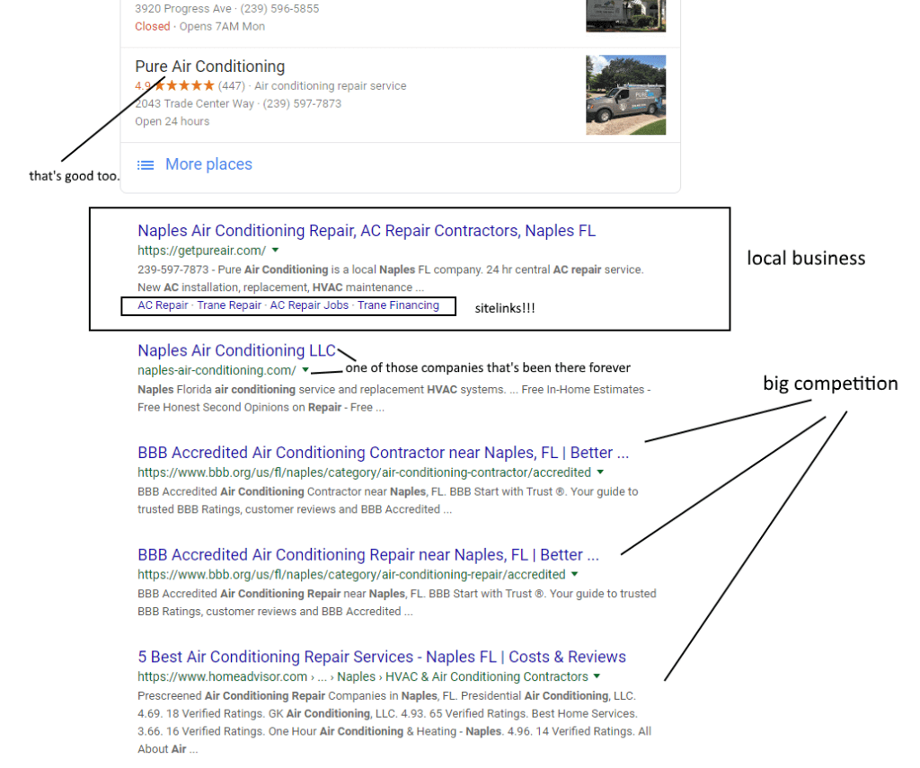 seo local business results
